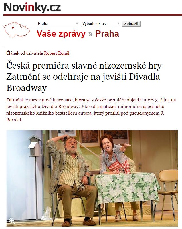 Česká premiéra slavné nizozemské hry Zatmění se odehraje na jevišti Divadla Broadway– Novinky.cz