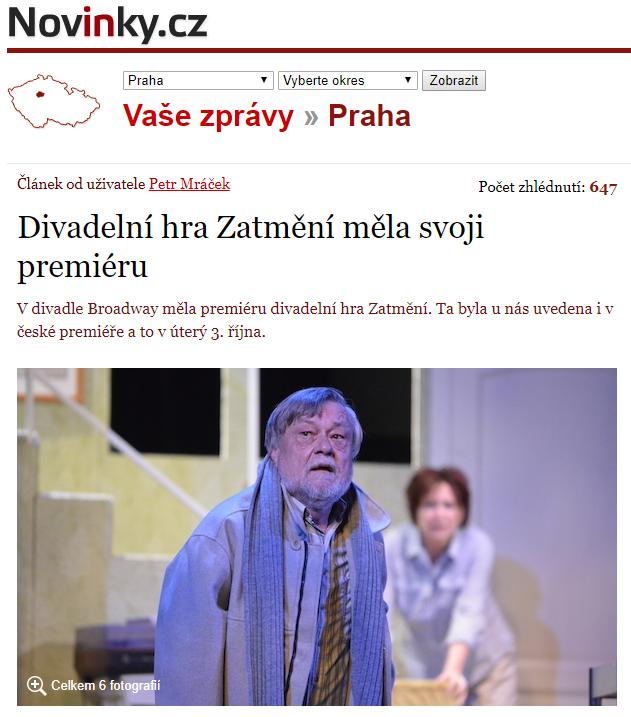 Divadelní hra Zatmění měla svoji premiéru– Novinky.cz