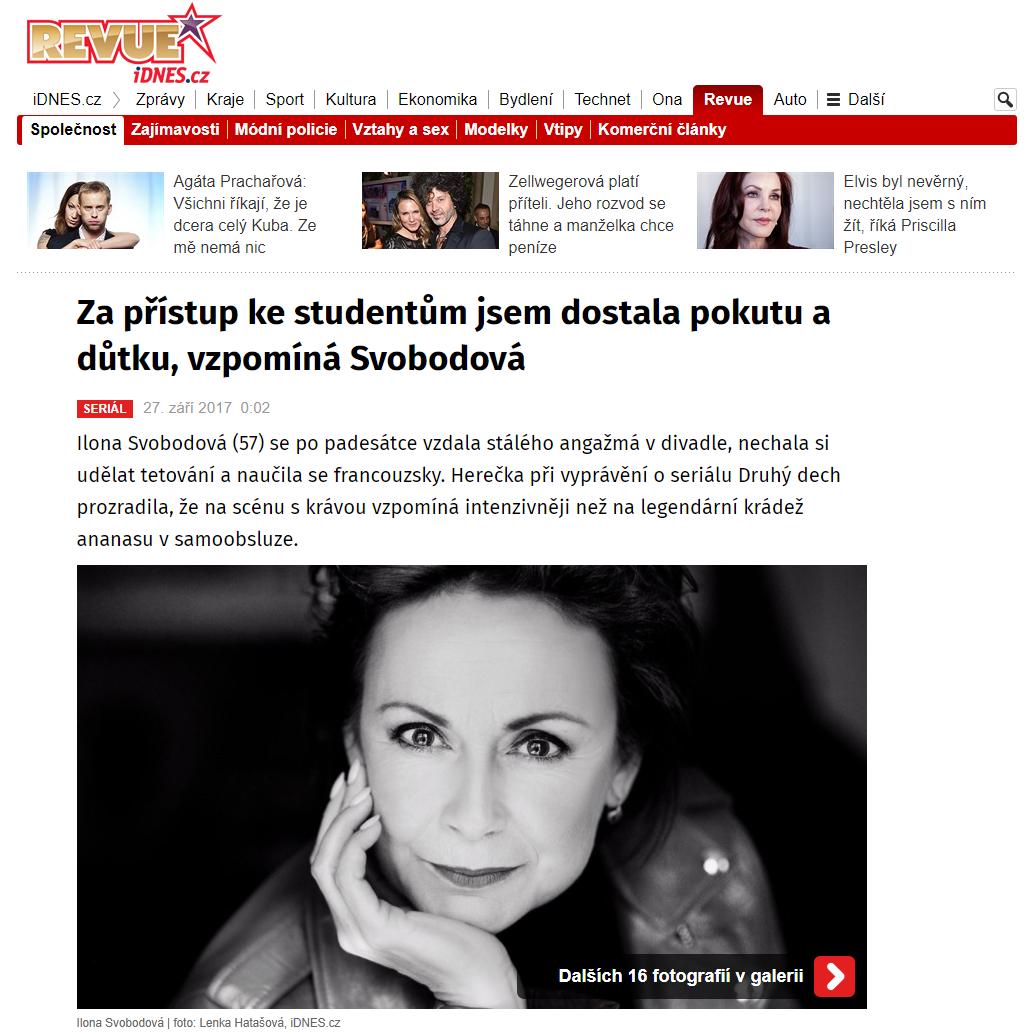 Za přístup ke studentům jsem dostala pokutu a důtku vzpomíná Svobodová iDNES.cz